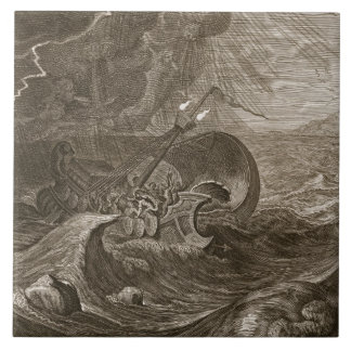 Dioscurien skyddar en frakt, 1731 (gravyr) kakelplatta