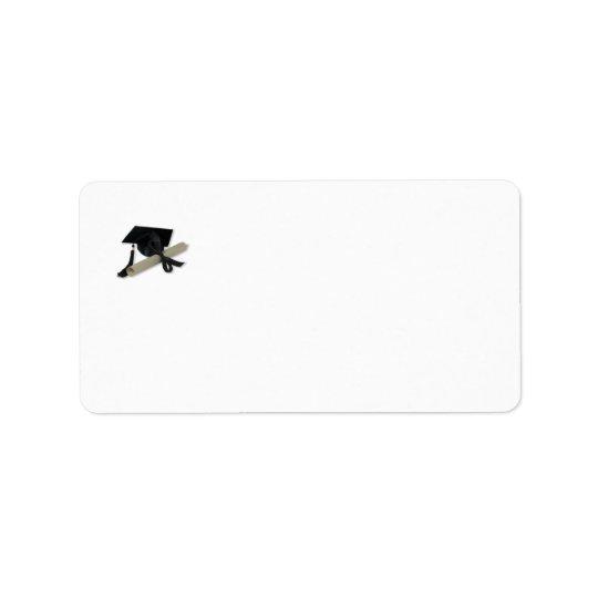 Diplom och studentmössa (mortel stiger ombord), adressetikett