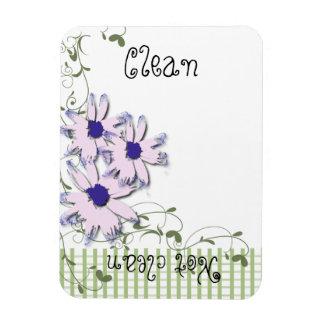 Diskare för Gingham för blommor för rosablåttdaisy Magnet