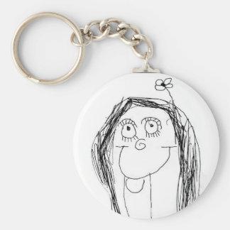 Ditt barns teckning - mors daggåva rund nyckelring