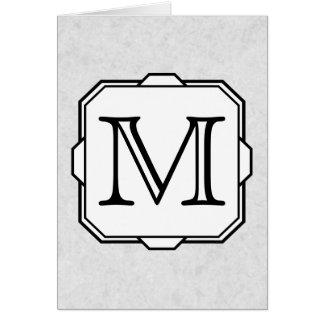 Ditt brev. Beställnings- Monogram. Grått, svart & OBS Kort