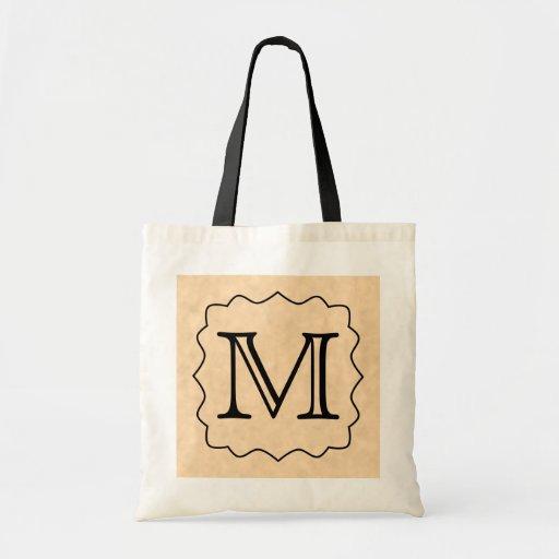 Ditt brev. Beställnings- Monogram. Svart & Parchme Tote Bag