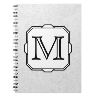 Ditt brev. Monogram i grått, svart och White. Anteckningsbok