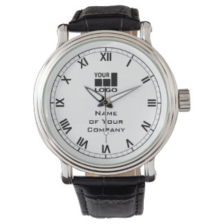 Ditt företagsnamn och enkla svartvitt för logotyp armbandsur