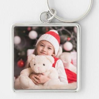 Ditt personliga julfoto fyrkantig silverfärgad nyckelring