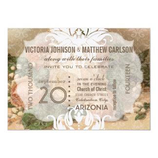 Ditt rosa guld- damastast blom- bröllop för foto 12,7 x 17,8 cm inbjudningskort