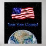 Ditt rösta räkningsflagga & jorda en kontakt - den posters