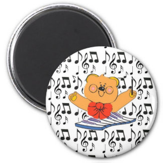 Divabear och musik noter knäppas magnet