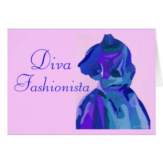 DivaFashionista i blått mig Hälsningskort