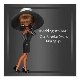 Divakvinna födelsedagsfest för afrikansk amerikan fyrkantigt 13,3 cm inbjudningskort