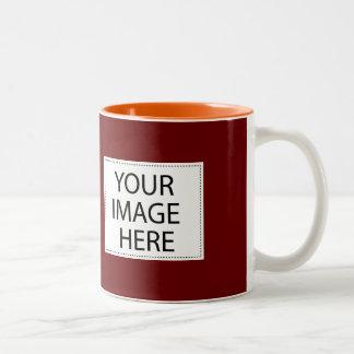 DIY-design din egna rödbruna och orange mugggåva Två-Tonad Mugg