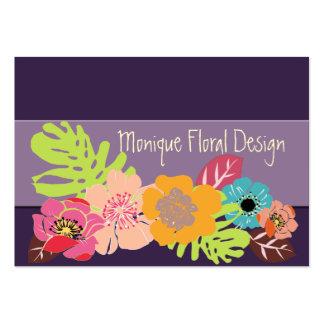 Diy färg för tropiska blommor, auberginebakgrund set av breda visitkort