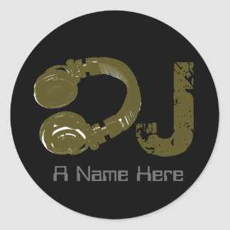 dj/dee jay/elektronisk musik runt klistermärke