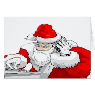 Dj-jultomten som blandar julpartyet, spårar hälsningskort