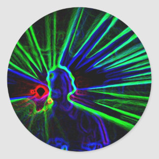 Dj- och laser-ljusklistermärkear runt klistermärke