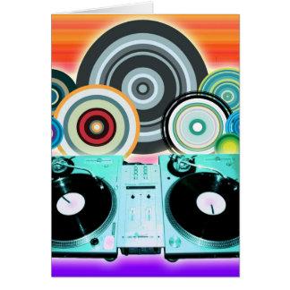 Dj-Turntable med vinylen - popkonst Hälsningskort