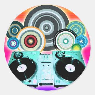 Dj-Turntable med vinylen - popkonst Runt Klistermärke