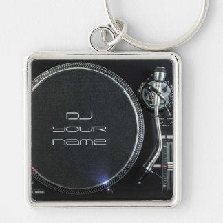 Dj-turntablekeychain Fyrkantig Silverfärgad Nyckelring