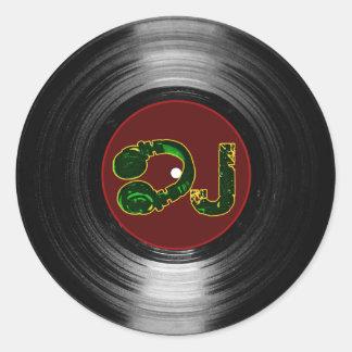 dj-vinyl runt klistermärke
