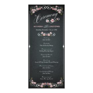 Djärv bröllopsprogram för blom- svart tavlavintage 10,2 x 23,5 cm inbjudningskort