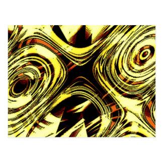 Djärv flyttning - gult och svartabstrakt vykort