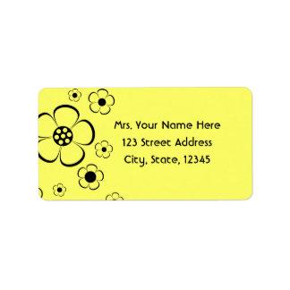 Djärv gula blommoradress Lables Adressetikett