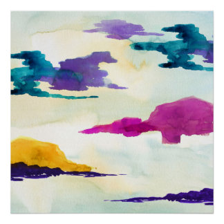 Djärv modern färgglad Skottland akvarellaffisch Poster