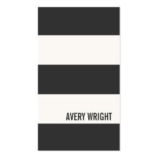 Djärv modern svartvit randig visitkort