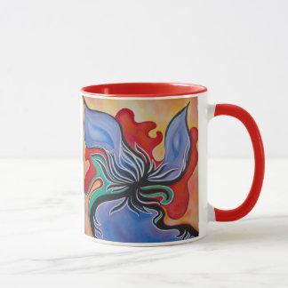 Djärv och ljus abstrakt blommamugg mugg