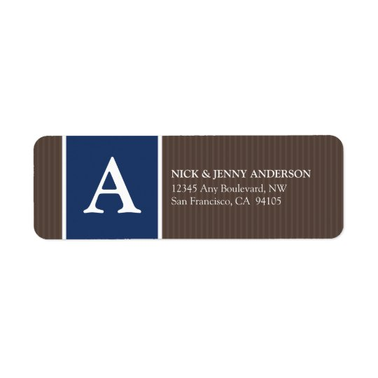 Djärv randreturadressetikett (choklad/marinen) returadress etikett