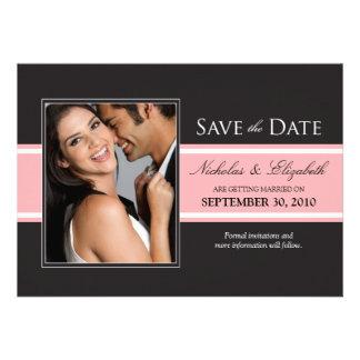 Djärv rosarandspara datum meddelande skräddarsydda inbjudan