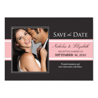 Djärv rosarandspara datum meddelande 12,7 x 17,8 cm inbjudningskort