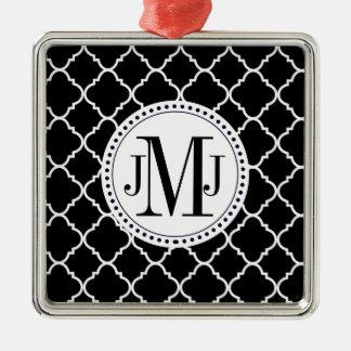 djärv svartvit quatrefoil silverfärgad fyrkantigt julgransprydnad