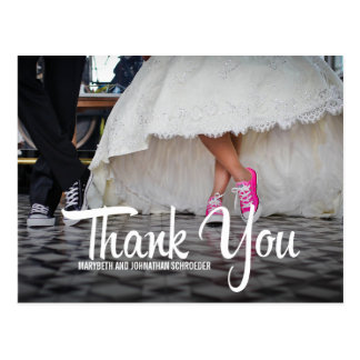 Djärv vykort för tack för Calligraphyfotobröllop