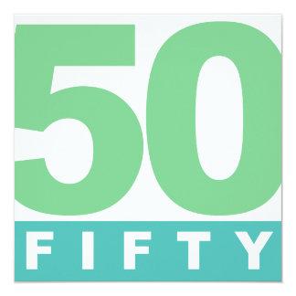 DJÄRVA 50th FEMTIO årsdagpartyinbjudningar Fyrkantigt 13,3 Cm Inbjudningskort