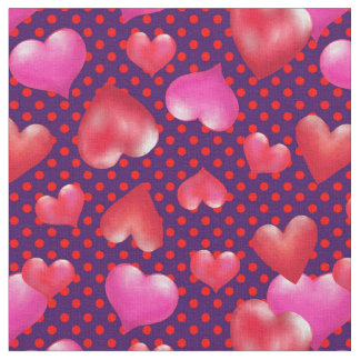 Djärva målade hjärtor på prickig valentin för tyg