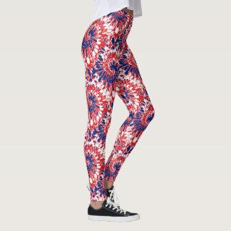 Djärvt rött vitt blått fyrverkeriTie-Färg mönster Leggings