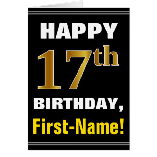 Djärvt svart, 17th födelsedag för Fauxguld med det Hälsningskort