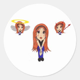 Djävulen- och ängeltecknadklistermärke runt klistermärke