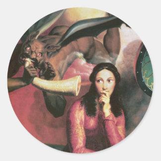 Djävulen som frestar en ung kvinna runt klistermärke