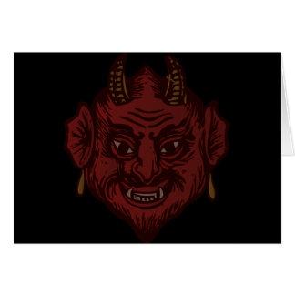 Djävulenhuvud (urblektt rött) hälsningskort
