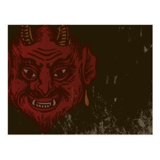 Djävulenhuvud (urblektt rött) vykort