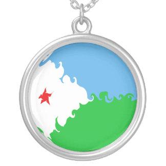 Djibouti Gnarly flagga Halsband Med Rund Hängsmycke