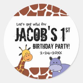 Djungel 1st födelsedag för Safari, personlig Runt Klistermärke