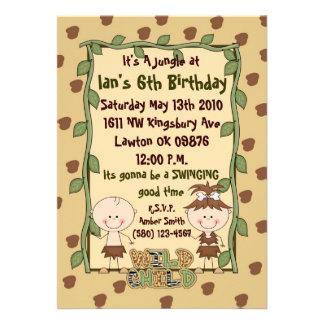 djungel brunt grönt födelsedag invatation cool anpassade tillkännagivande