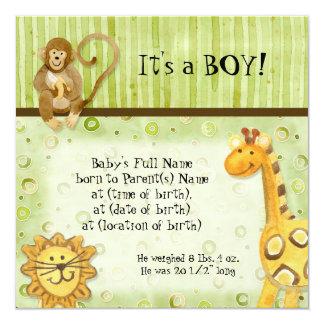 Djungelbabyar, pojkefödelsemeddelande fyrkantigt 13,3 cm inbjudningskort