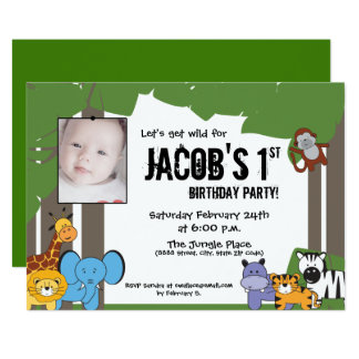 Djungeltemafödelsedag, personlig med fotoet 12,7 x 17,8 cm inbjudningskort