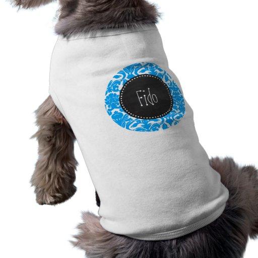Djup himmelblåttdamast; Retro svart tavla Hund T-shirt