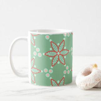 Djup orange blommigt med att kontrastera fläckar kaffemugg