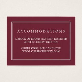 Djupa kort för boende för plommonbröllophotell